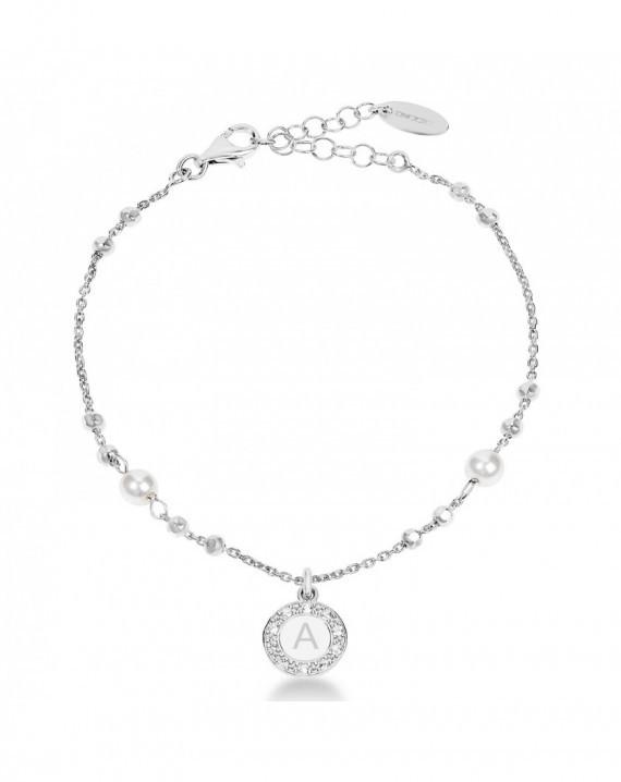 Bracciale regolabile con perle